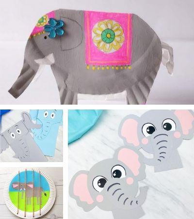 elephant craft image collage