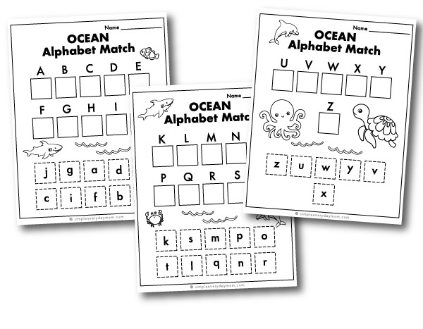 ocean animal alphabet match worksheets