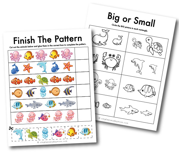 ocean animal pattern and size worksheets
