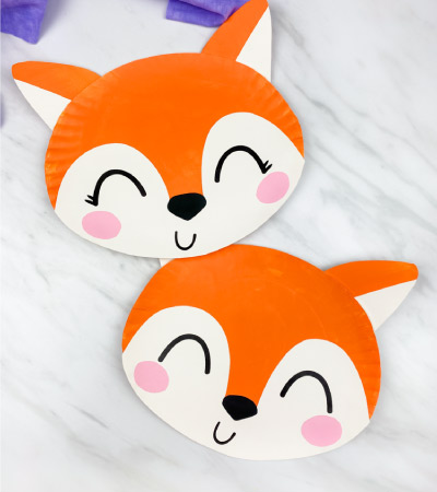 paper plate foxes