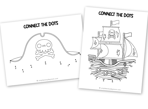 pirate connect the dot printables