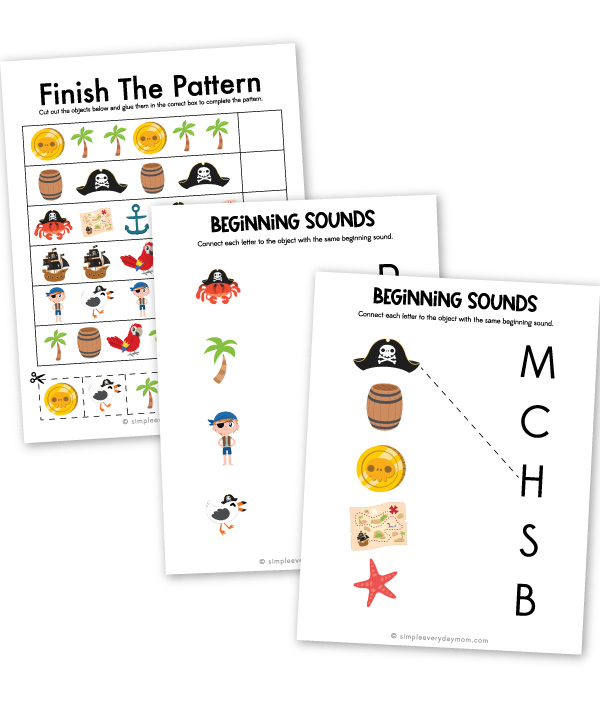 pirate worksheets for preschool