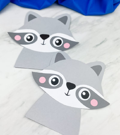 2 paper raccoon crafts