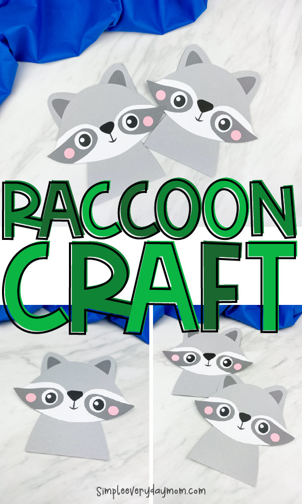 "collage of paper raccoon craft images with the words ""raccoon craft"" in between"
