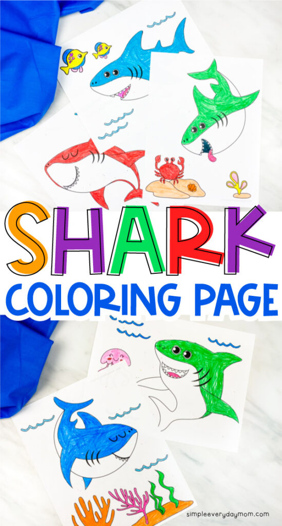 """Collage of two shark coloring pages with the words """"shark coloring page"""" between them"""