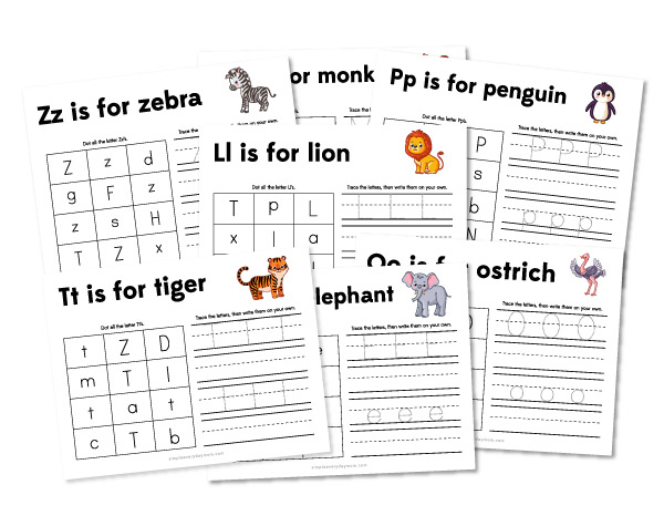zoo animal handwriting practice worksheets