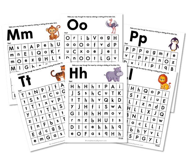 zoo animal letter maze worksheets