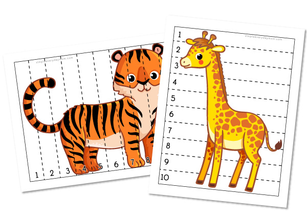 tiger and giraffe number strip puzzles