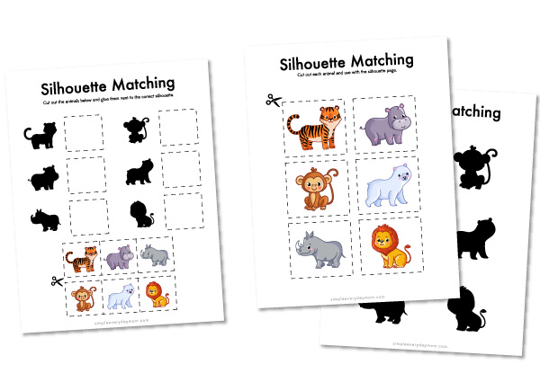 zoo animal silhouette matching worksheets