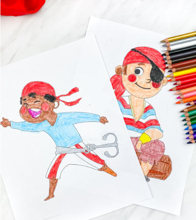 two pirate boy coloring pages with colored pencils