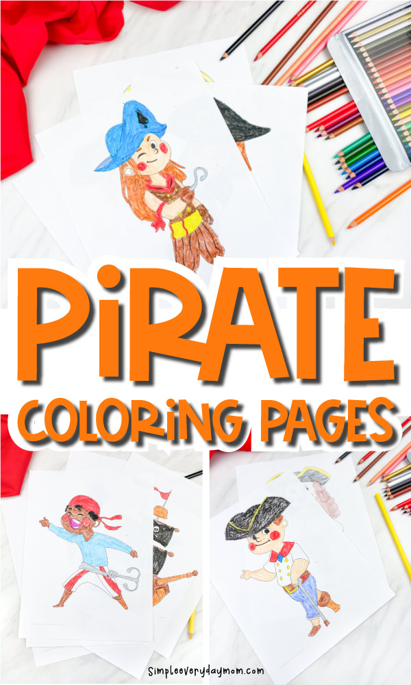 "collage of pirate coloring page images with the words ""pirate coloring pages"" in the middle"
