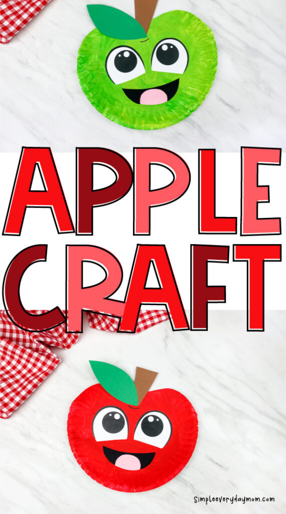 collage of green and red paper plate apple crafts on marble background