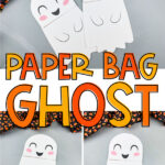 collage of paper bag ghost craft images with the words paper bag ghost in the middle
