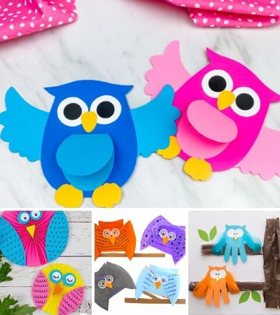 collage of owl crafts for kids