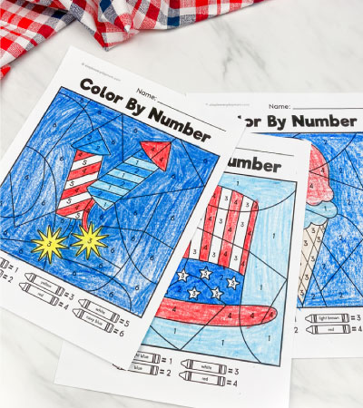 patriotic color by number printables