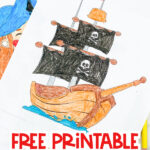 "pirate ship coloring page with the words ""free printable pirate ship coloring page"" on the bottom"