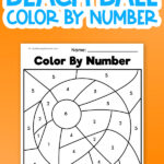 beach ball color by number worksheet uncolored on orange background