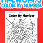 uncolored color by number worksheet on red background