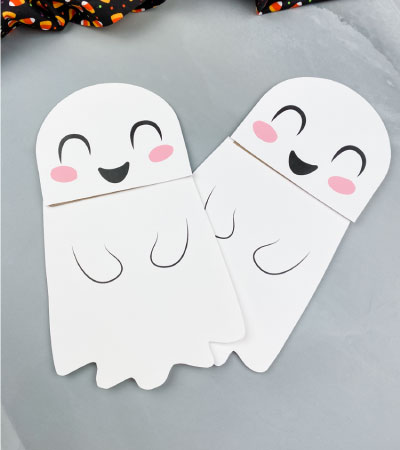 two ghost puppet crafts
