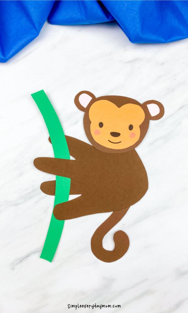 closeup of dark brown handprint monkey craft
