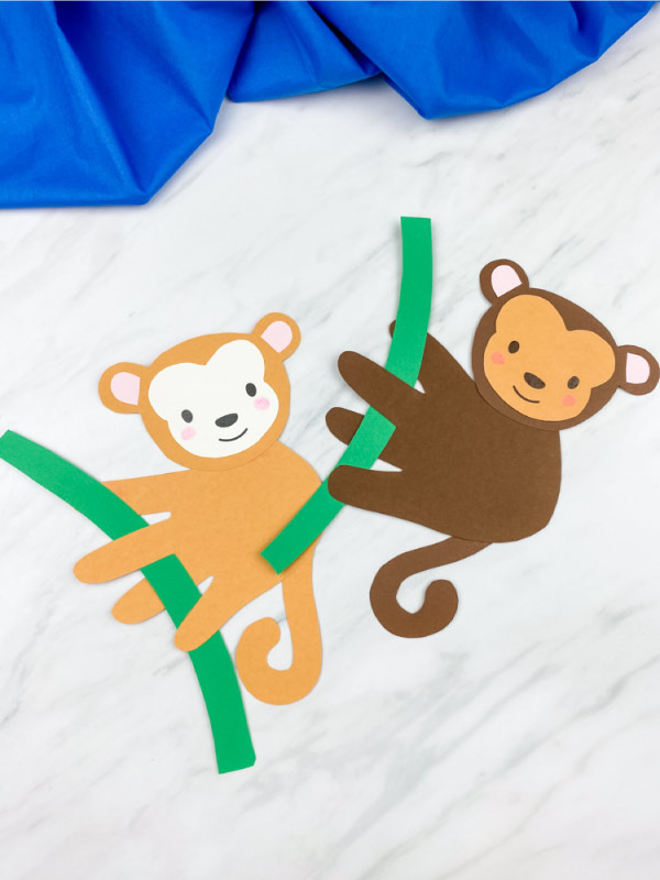 one light brown and one dark brown handprint monkey
