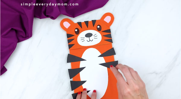 hands gluing tiger stripes to body