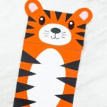 closeup of brown paper bag tiger craft
