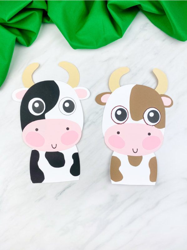 black/white and brown/white cow paper craft