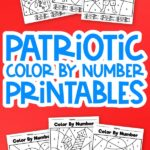 uncolored patriotic color by number worksheets on red background