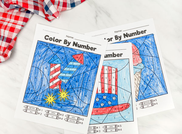 firecracker, uncle sams hat and ice cream color by number worksheets