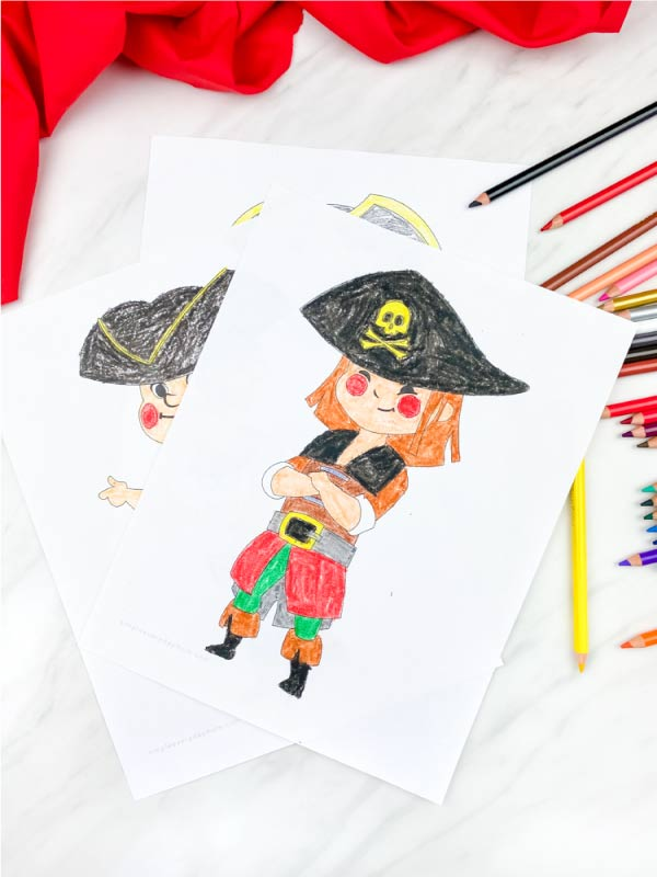 pirate girl with arms crossed coloring page