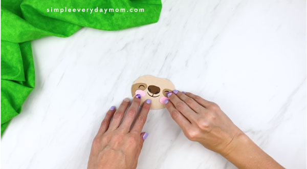 hands gluing on sloth cheeks