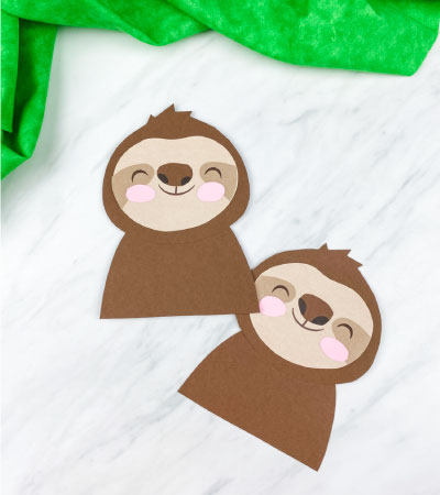 two paper sloth crafts