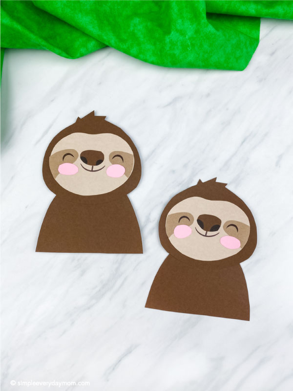 two paper sloth crafts for kids