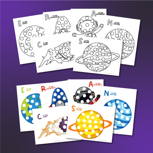 space do a dot printables in black and white and full color
