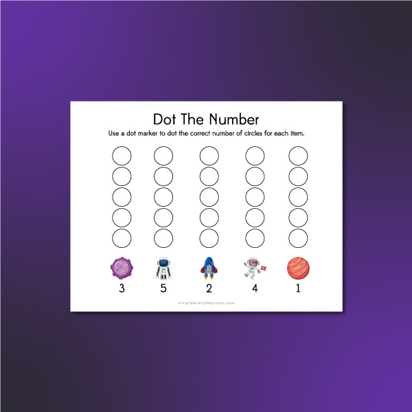 space counting do a dot printable