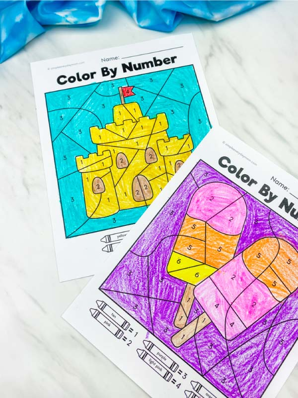 sandcastle and popsicle color by number worksheets colored in