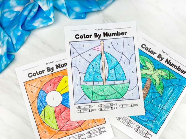 beach ball, sailboat and island color by number worksheets colored in