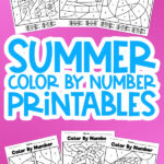 long collage of 6 summer color by number worksheets on pink background