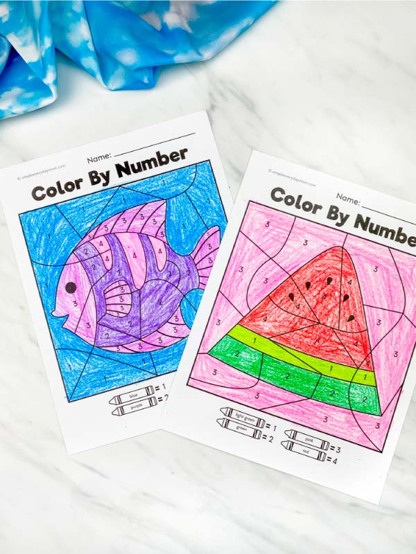 fish and watermelon color by number worksheets colored in