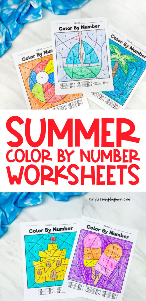 a long collage image of 5 color by number worksheets colored in