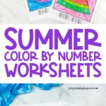 long collage of 4 summer color by number printables for kids