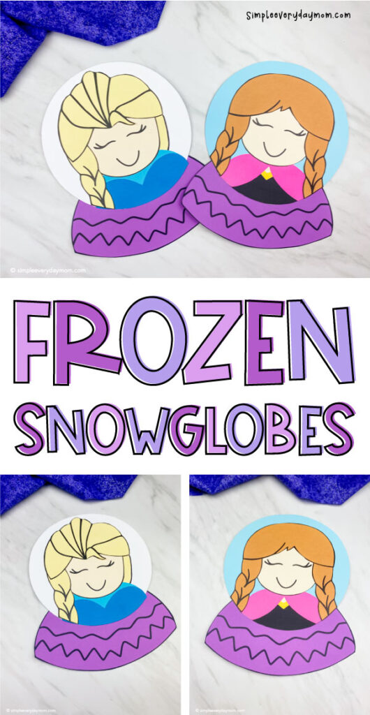 collage of frozen snowglobe images with the words frozen snowglobes in the middle