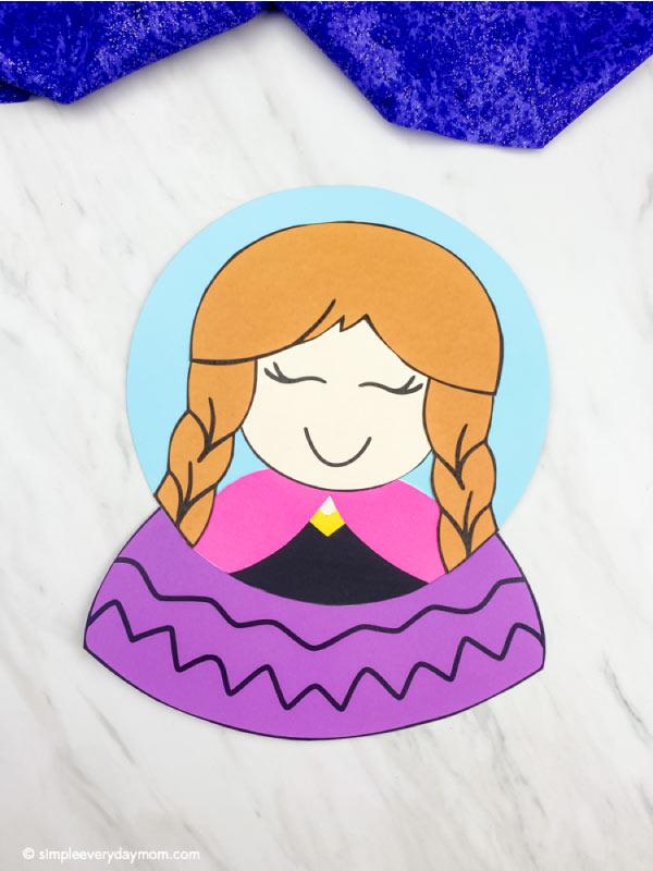 paper Anna snowglobe craft