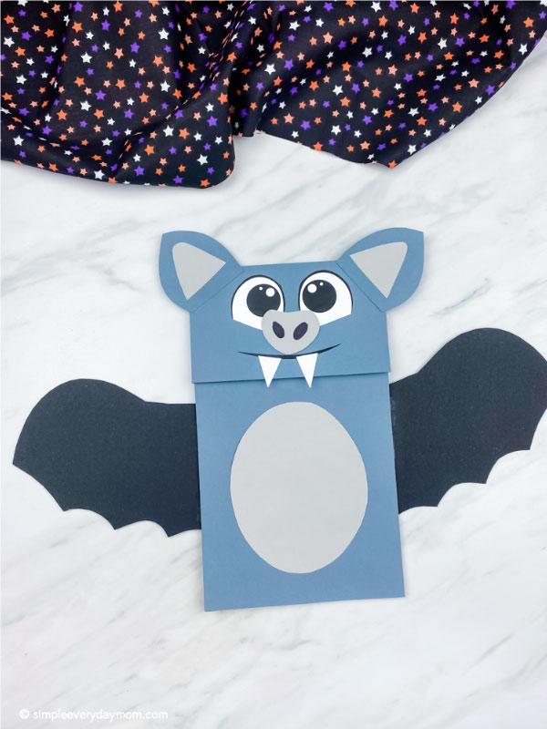 gray and black paper bag bat craft