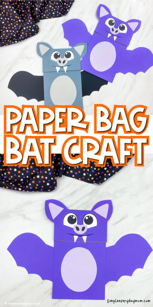 collage of paper bag bat craft images with the words paper bag bat craft in the middle