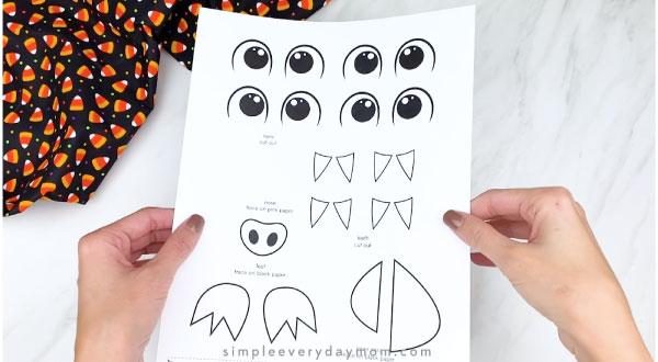 hands holding bat craft template
