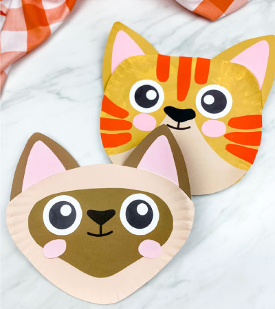 tabby paper plate cat craft with siamese paper plate cat craft in front