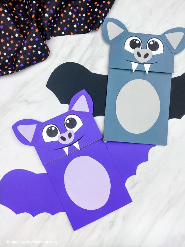 purple and gray paper bag bat crafts