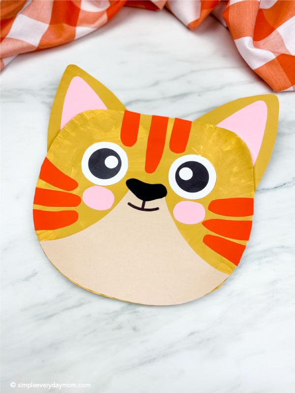 paper plate tabby cat craft